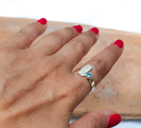Blue topaz ring, November birthstone ring, geometric silver ring, blue stone ring - Handmade with love from Greece