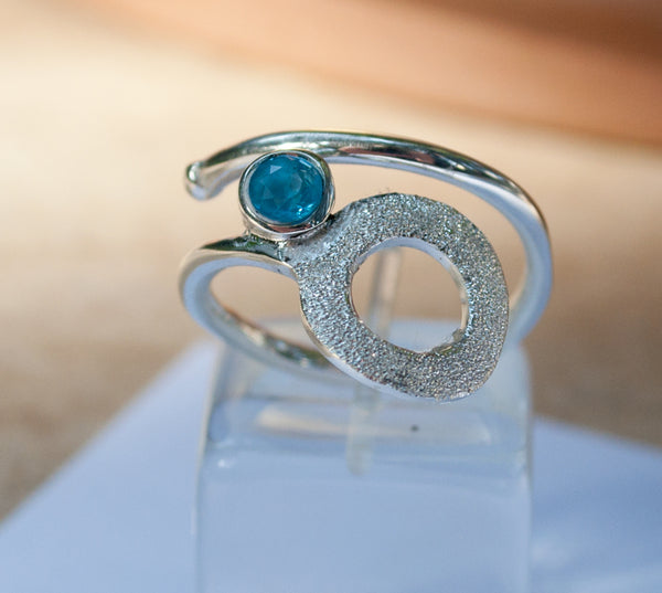 Blue topaz silver ring, November birthstone, geometric circle ring, blue stone ring - Handmade with love from Greece