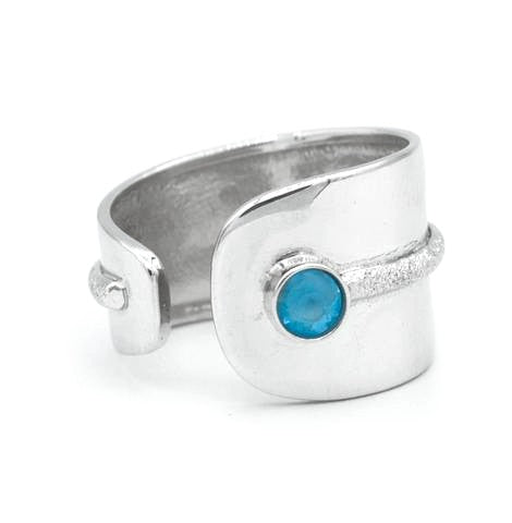 Blue topaz silver ring, adjustable silver ring, blue stone ring Santorini Ring - Handmade with love from Greece