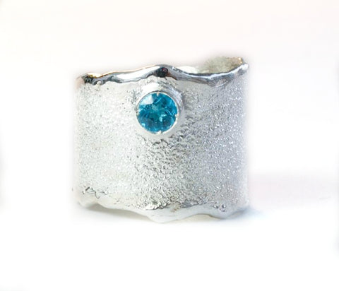 Blue topaz silver ring November Birthstone blue topaz ring rough ring