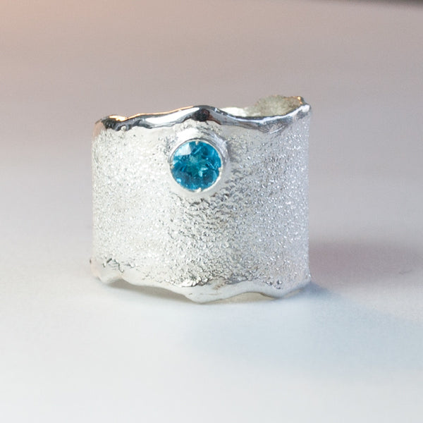 Blue topaz silver ring November Birthstone blue topaz ring rough ring - Handmade with love from Greece