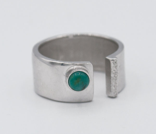 turquoise silver ring adjustable silver ring blue green stone ring