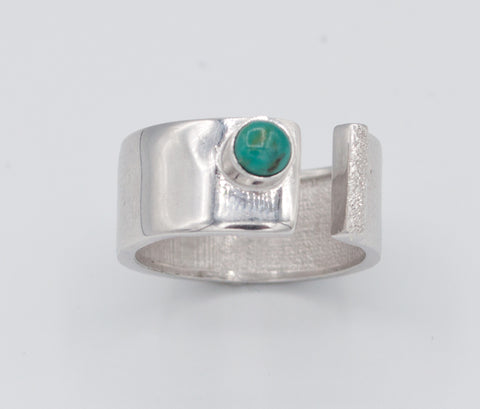 turquoise silver ring adjustable silver ring blue green stone ring blue stone solitaire ring handmade in Greece