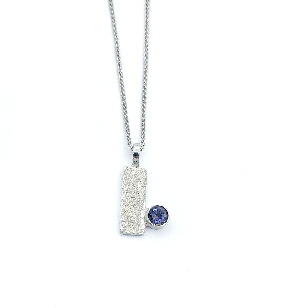 blue iolite silver pendant textured small pendant silver chain - Handmade with love from Greece