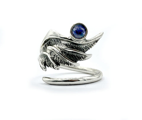 wing ring, silver ring, blue iolite ring, silver adjustable ring, archangel ring