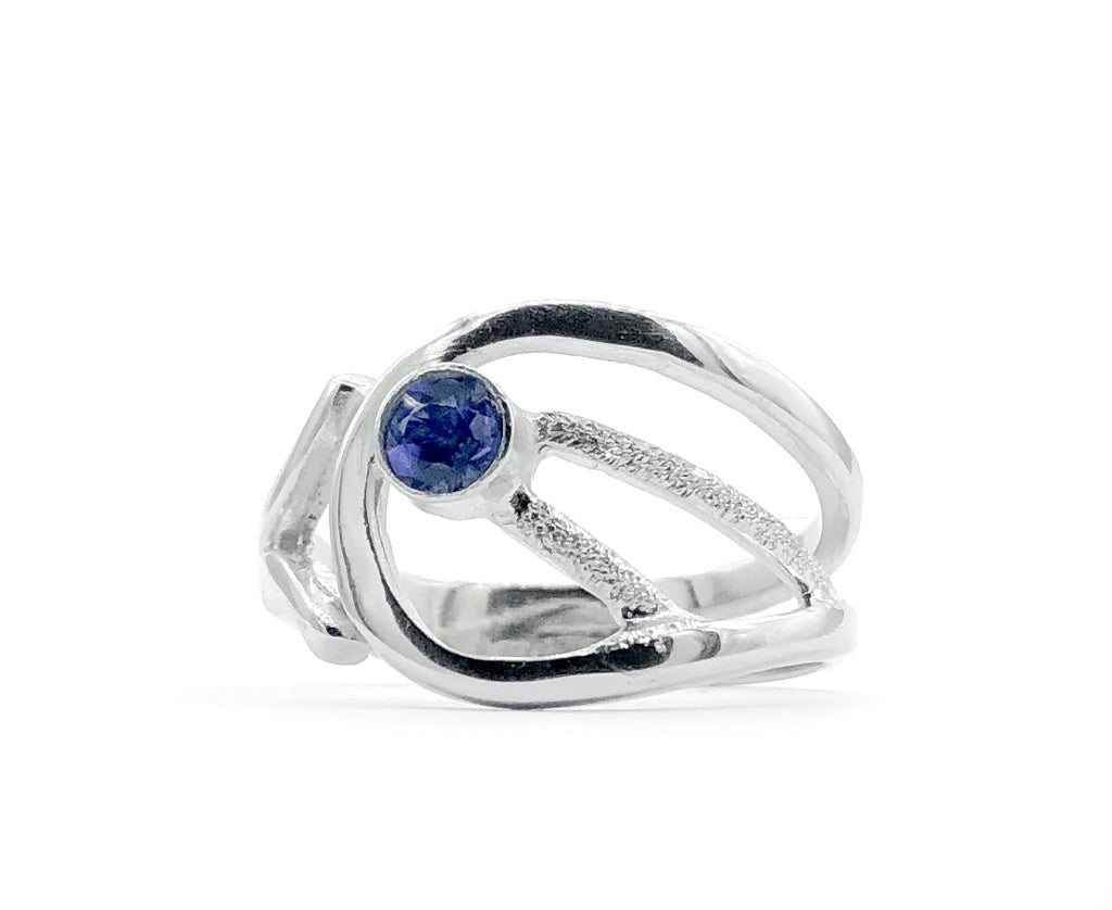 blue iolite ring, blue stone ring, modern silver ring
