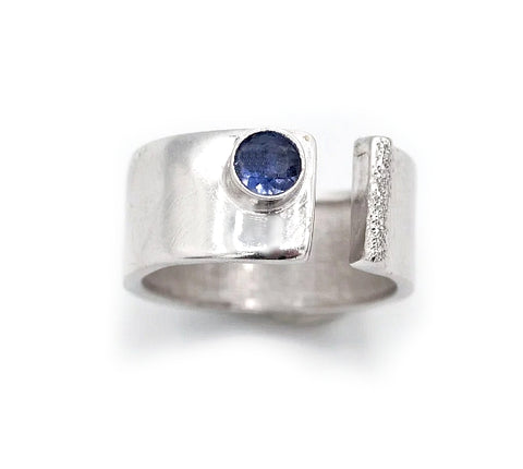 blue iolite silver ring adjustable silver ring blue stone ring