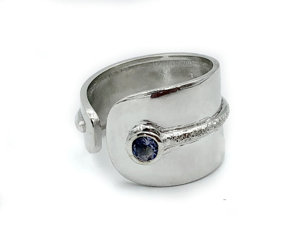 blue iolite silver ring, adjustable silver ring,blue stone ring Santorini Ring - Handmade with love from Greece