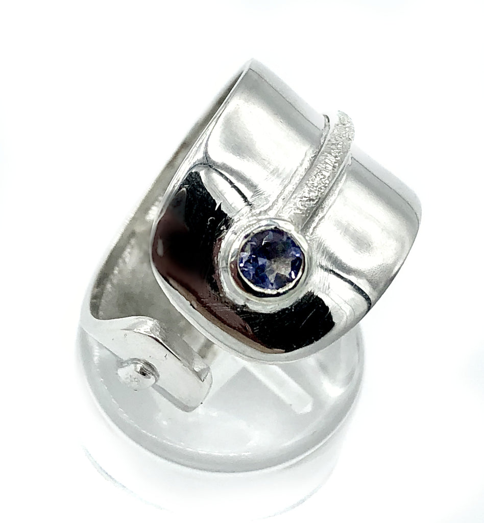 blue iolite silver ring, adjustable silver ring,blue stone ring Santorini Ring