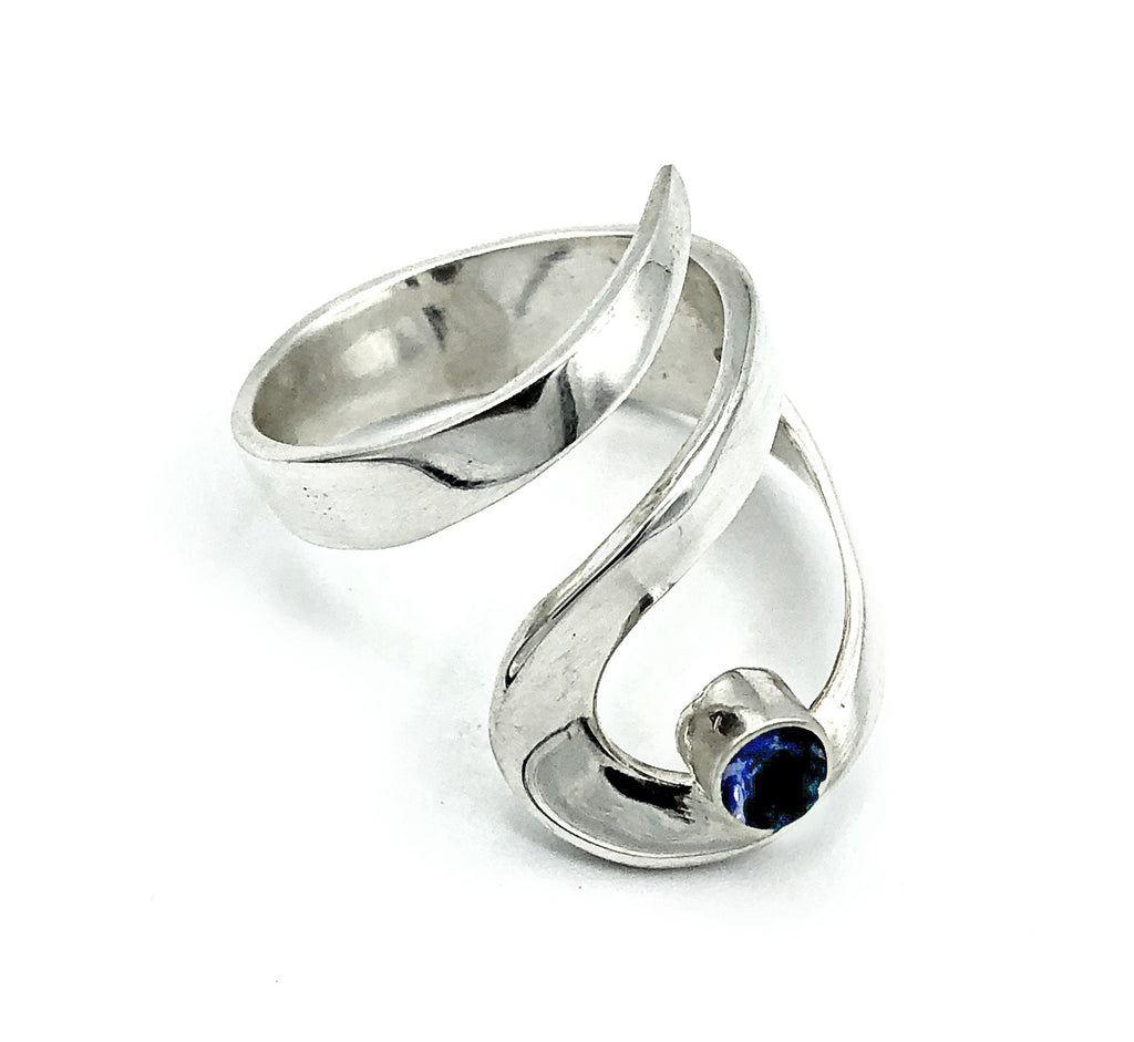 blue iolite silver adjustable ring, drop shape silver ring, contemporary silver ring - Handmade with love from Greece