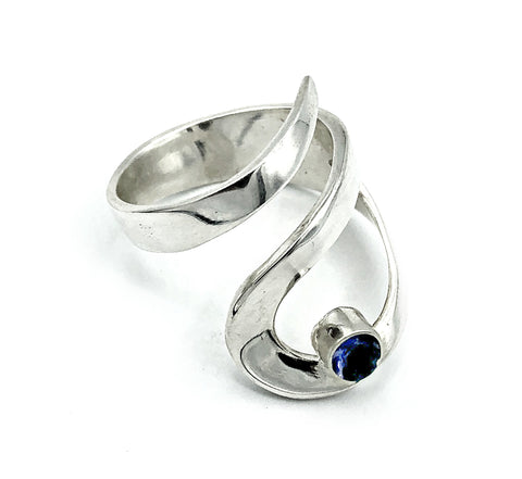blue iolite silver adjustable ring, drop shape silver ring, contemporary silver ring
