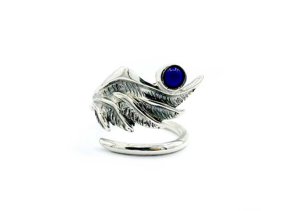 wing ring, angel ring, angel wing ring, blue lapis ring adjustable ring
