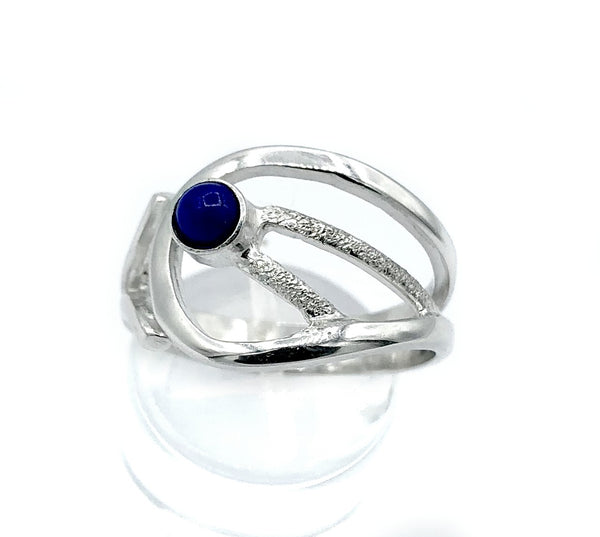 Blue lapis lazuli ring, blue stone ring, contemporary silver ring