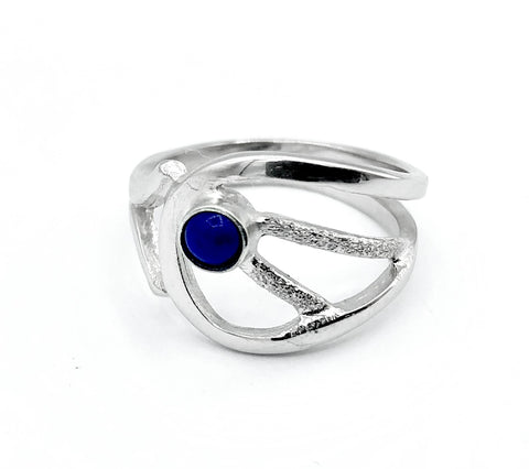 Blue lapis lazuli ring, blue stone ring, contemporary silver ring - Handmade with love from Greece