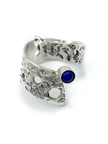 Abstract silver ring, blue lapis lazuli ring, silver adjustable ring, modern ring