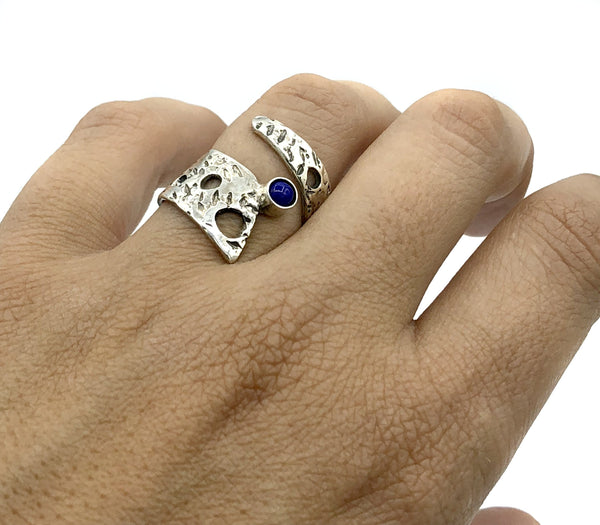 Abstract silver ring, blue lapis lazuli ring, silver adjustable ring, modern ring - Handmade with love from Greece