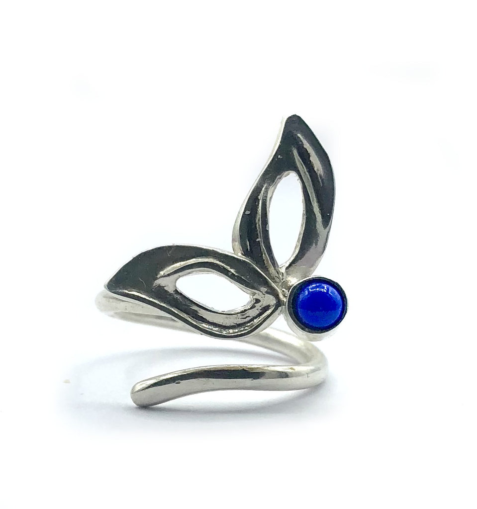 flower ring, blue lapis silver ring, contemporary silver ring adjustable