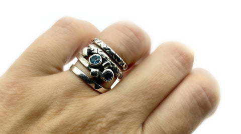 spiral silver ring with stones, silver adjustable ring, blue stones ring
