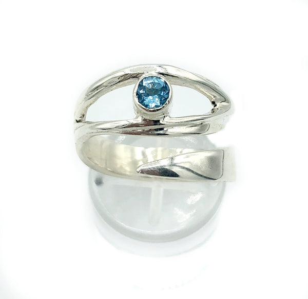 Blue topaz silver ring, November birthstone, eye ring, blue stone ring - Handmade with love from Greece