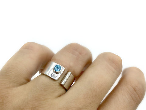 Blue topaz silver ring adjustable November Birthstone blue stone ring
