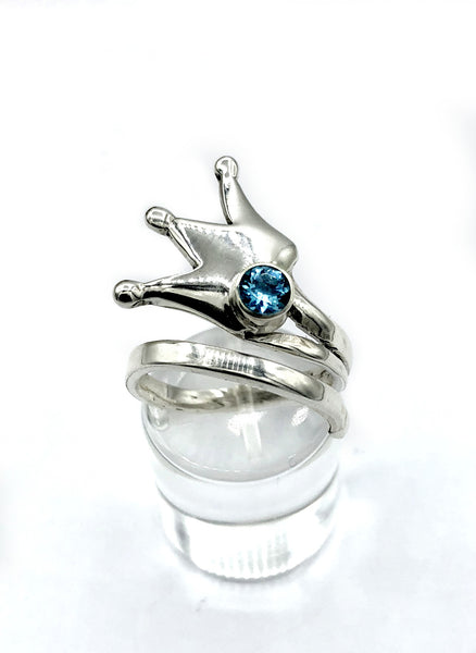 princess crown ring, queen crown ring silver ring, blue topaz ring, adjustable ring
