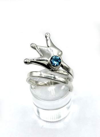 princess crown ring, queen crown ring silver ring, blue topaz ring