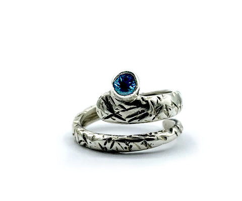Blue topaz ring, November birthstone, snake ring, blue stone ring