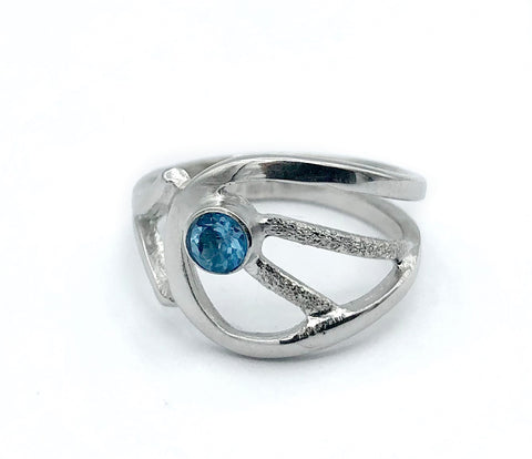 blue topaz ring, blue stone ring, contemporary silver ring
