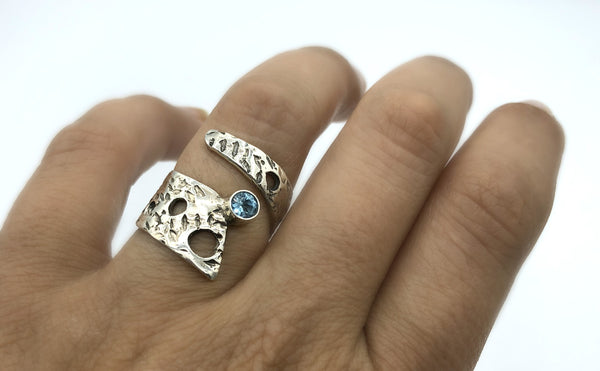 Abstract silver ring, blue topaz ring, silver adjustable ring, modern ring