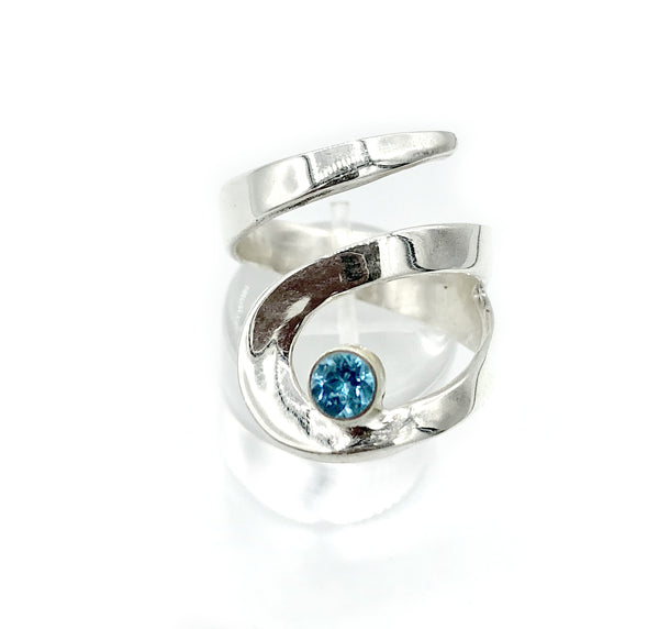 blue topaz silver adjustable ring, drop shape silver ring, contemporary silver ring