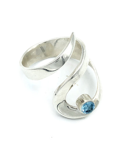 blue topaz silver adjustable ring, drop shape silver ring, contemporary silver ring - Handmade with love from Greece