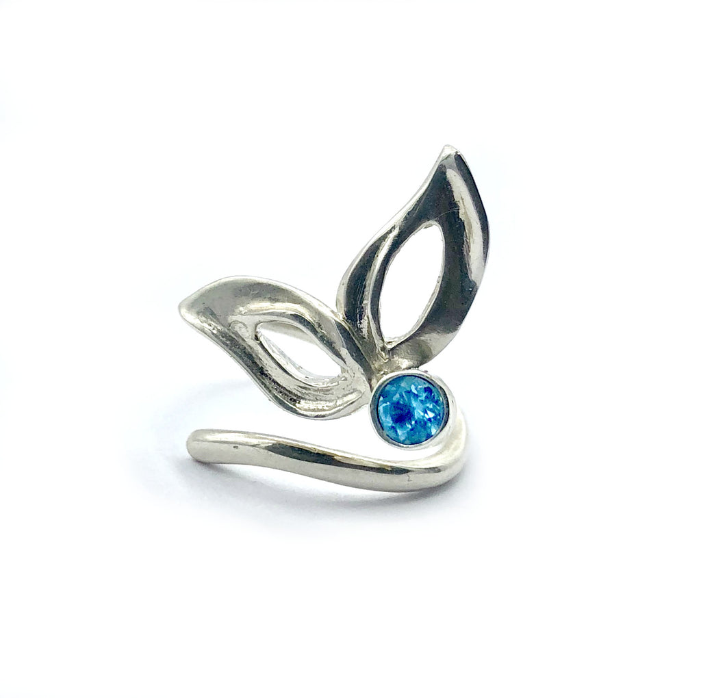 flower ring, blue topaz silver ring, contemporary silver ring adjustable