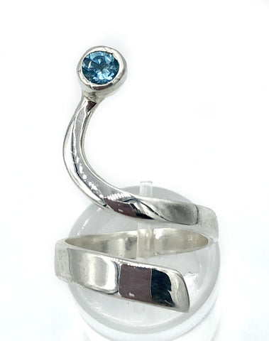 Blue topaz silver Trikemia wave ring, unique handmade sterling silver ring