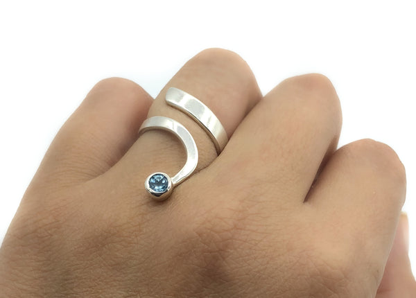 Blue topaz silver Trikemia wave ring, unique handmade sterling silver ring - Handmade with love from Greece