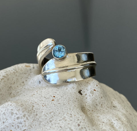 Blue gemstone ring silver, adjustable ring