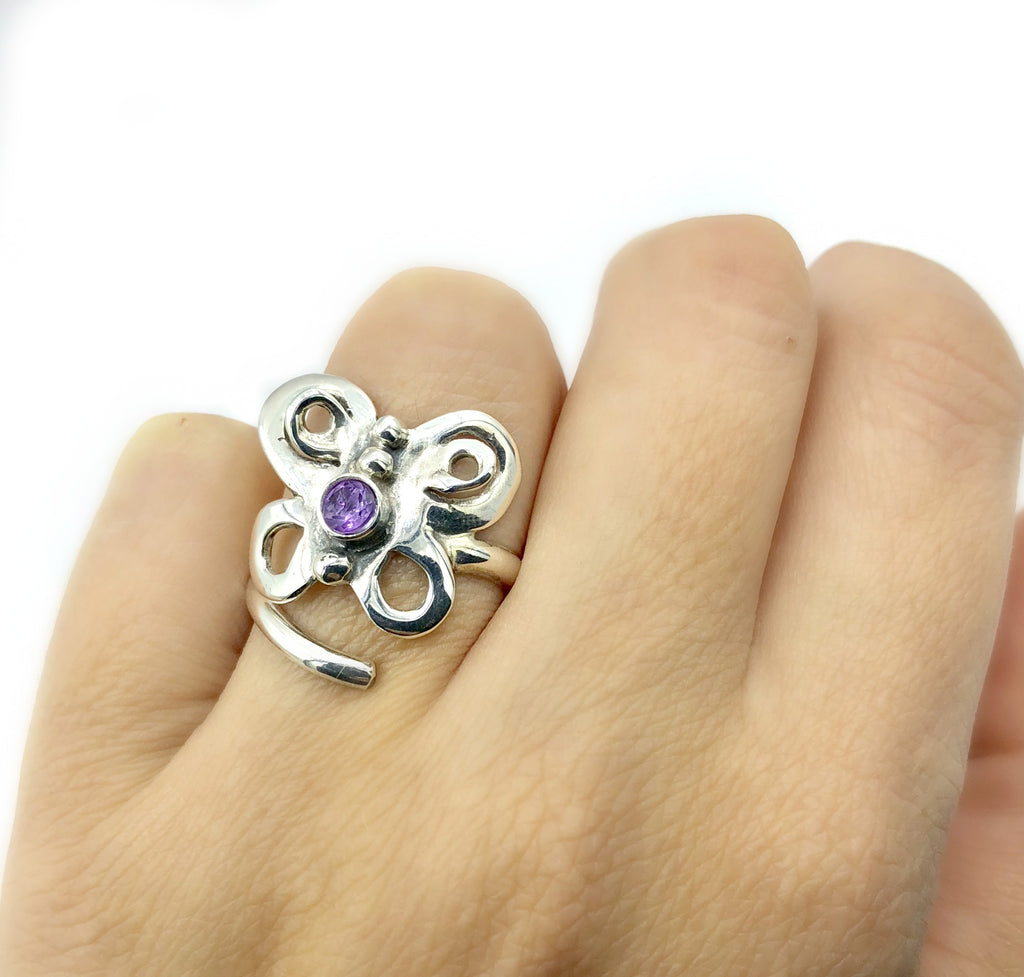 butterfly ring, silver butterfly ring silver adjustable ring, amethyst ring
