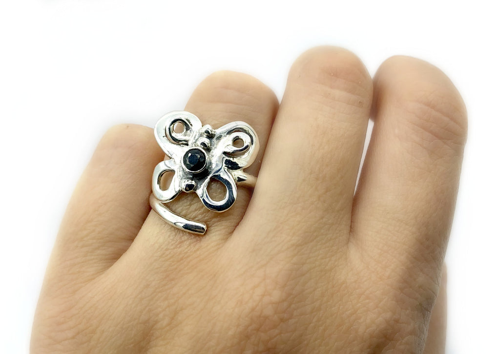 butterfly ring, silver butterfly ring silver adjustable ring, black spinel ring - Handmade with love from Greece