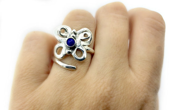 butterfly ring, silver butterfly ring silver adjustable ring, blue lapis ring