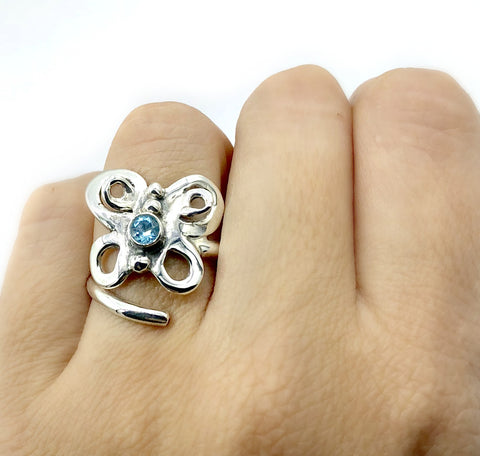 butterfly ring, silver butterfly ring silver adjustable ring, blue topaz ring