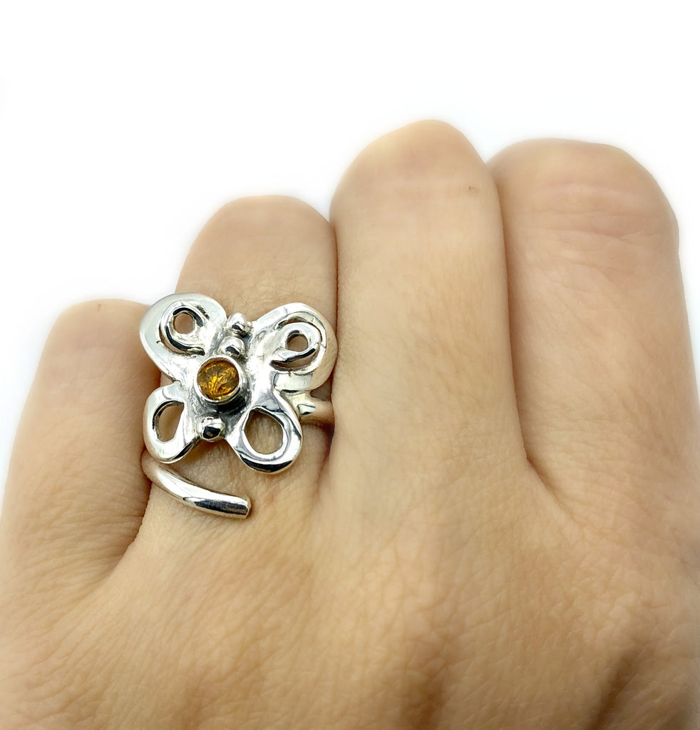 butterfly ring, silver butterfly ring silver adjustable ring, citrine ring