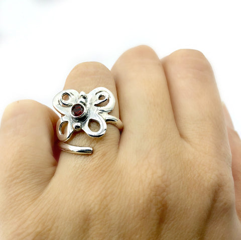 butterfly ring, silver butterfly ring silver adjustable ring, red garnet ring
