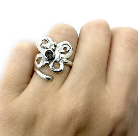 butterfly ring, silver butterfly ring, adjustable smoky quartz ring - Handmade with love from Greece