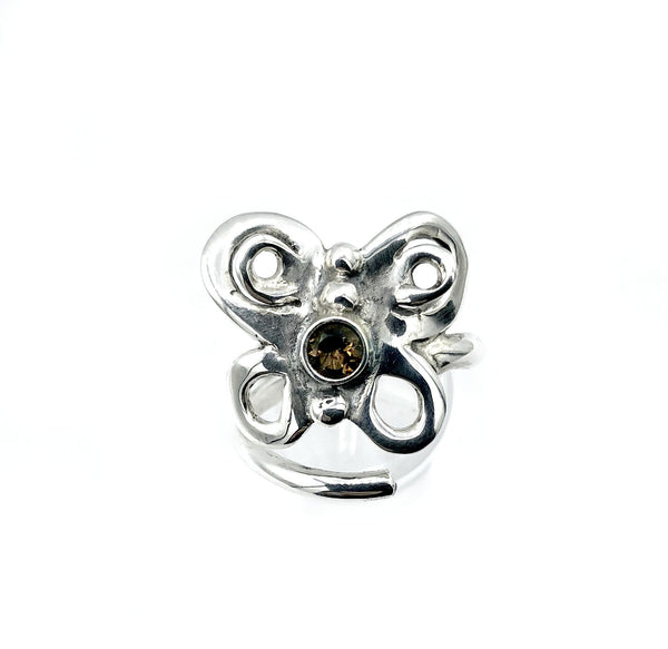 butterfly ring, silver butterfly ring, adjustable smoky quartz ring