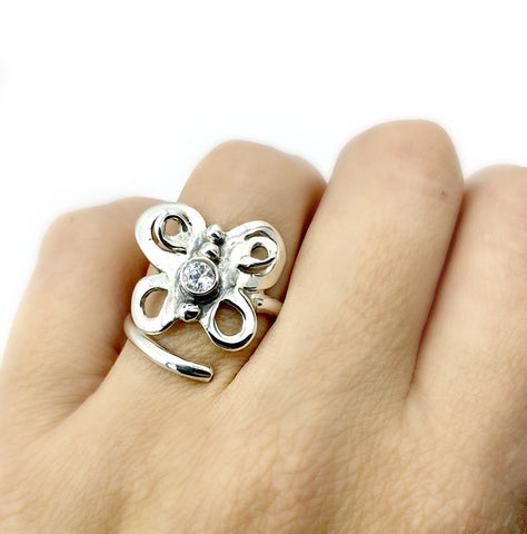 large butterfly ring, silver butterfly ring silver adjustable ring, zircon ring
