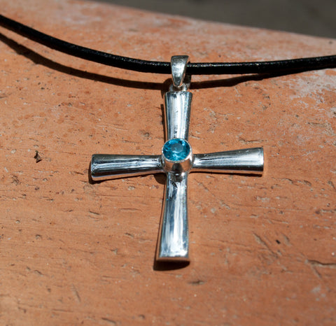 Byzantine silver cross necklace with blue gemstone