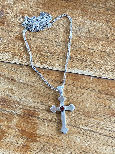 Silver cross with a red stone, silver cross, Byzantine silver cross