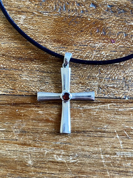 byzantine silver cross necklace with red gemstone
