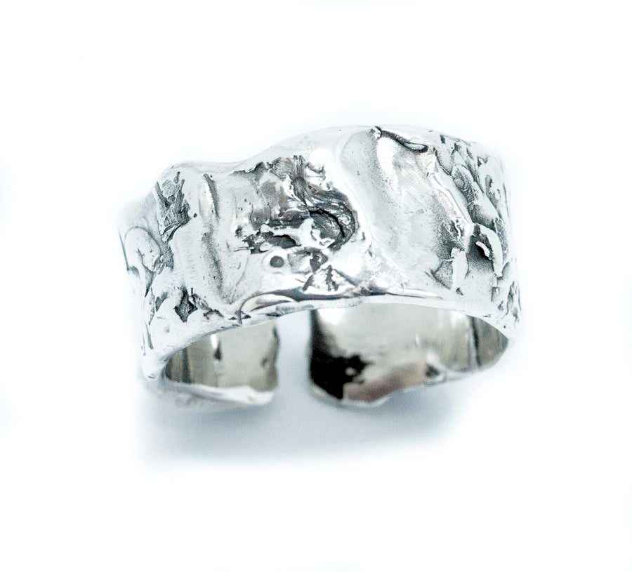 men's silver ring, chunky silver ring, thick chunky ring adjustable - Handmade with love from Greece