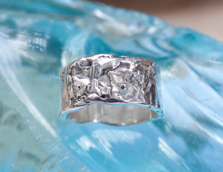 textured bit of rough ring  Sterling silver any size made Wide hand made