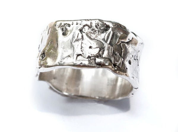 Chunky Rustic textured wide band, wide silver ring, oxidized rough band